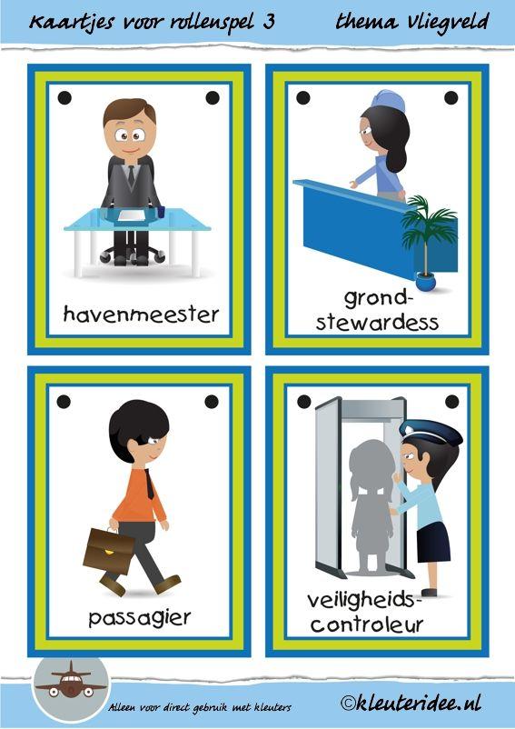 Kaarten voor rollenspel 3 in de hoeken bij thema vliegveld voor kleuters, juf Petra van kleuteridee, free printable.
