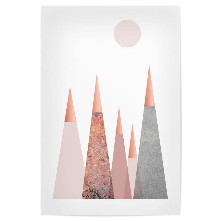 Scandi Mountains in blush pink, <b>rose gold</b>, <b>copper and</b> grey ...