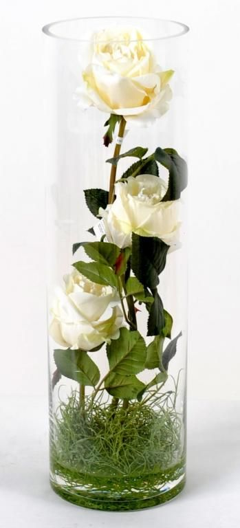 Vase illusion d 39 eau roses blanches fleur artificielle 40cm for Fleure artificiel