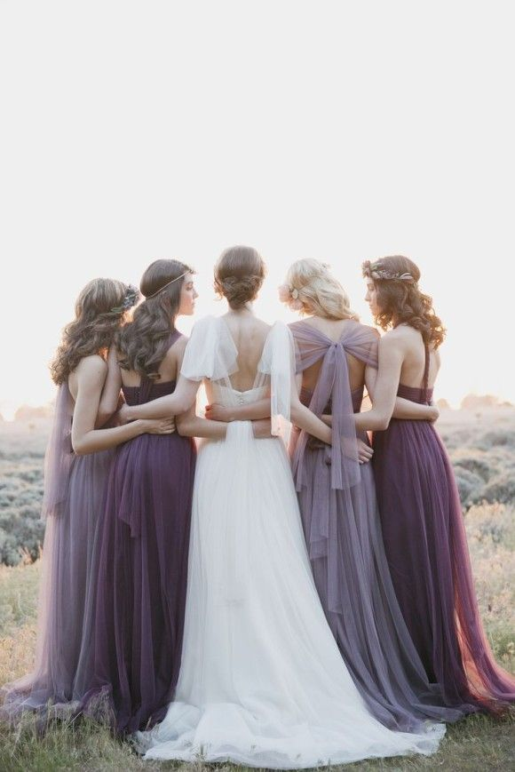 Purple bridesmaids dresses #wedding #bridesmaids