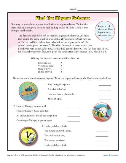Find the Rhyme Scheme Poetry Activity. Understanding rhyme scheme helps a reader analyze a poem more thouroughly. This beginning worksheet on rhyme scheme uses nursery rhymes to introduce the concept.