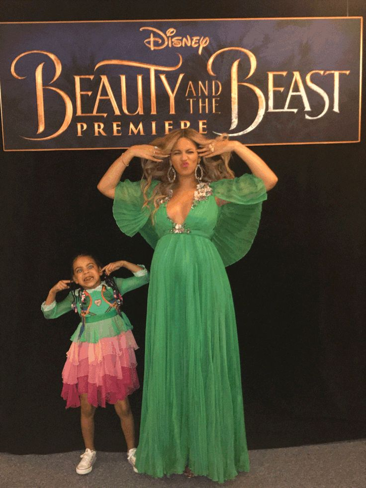Goofy faces! Bey and Blue Ivy posed for the camera at the premiere.