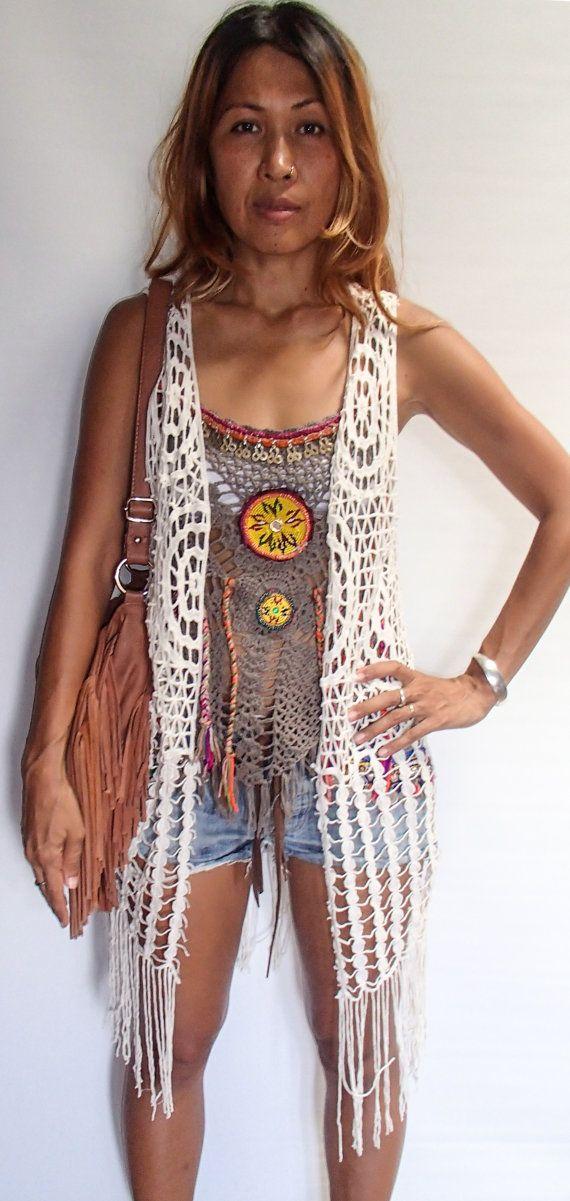 Bohemio palmeados Crochet chaleco largo con flecos. Negro o blanco por SpellMaya