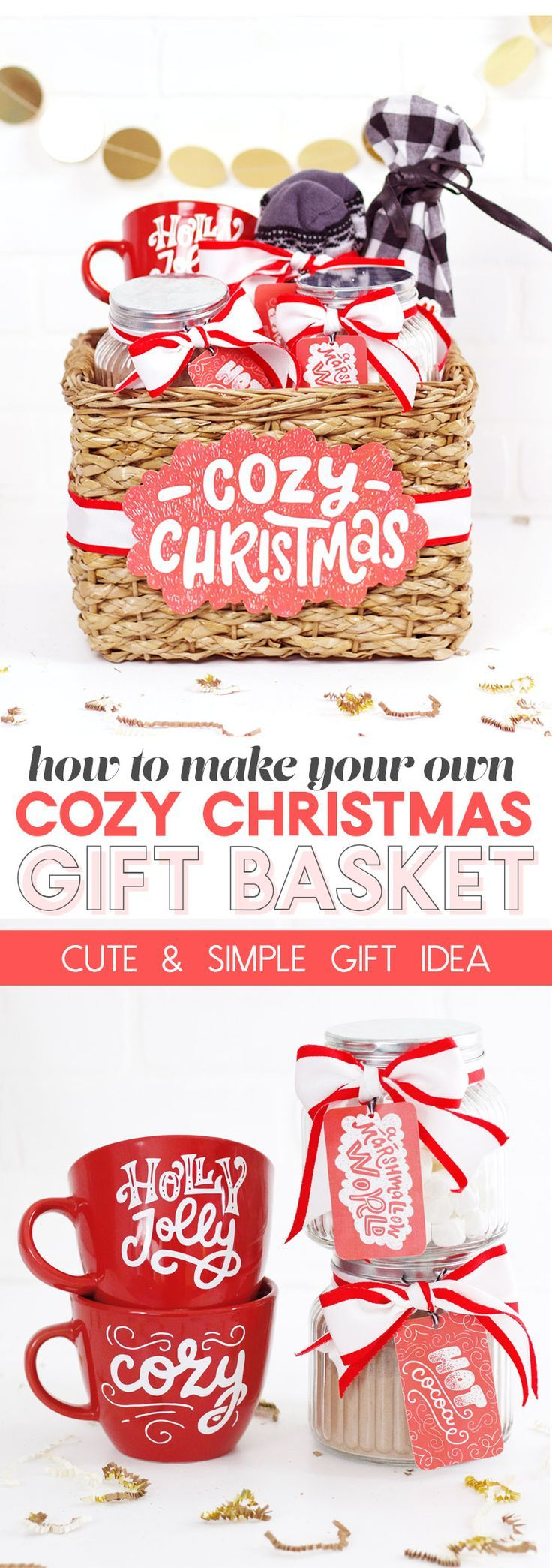cozy christmas gift basket idea made with Craft Bundles - so cute! #ad #christmas #christmascrafts #christmasgifts #christmasgiftideas
