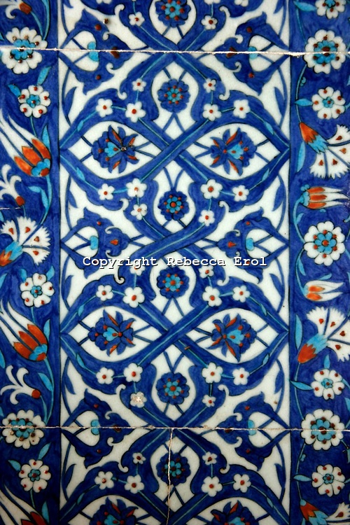 Iznik tiles at the Rustem Pasha Mosque, Istanbul, Turkey