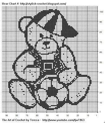 Free Filet Crochet Charts and Patterns: Filet Crochet Bear- Chart 4