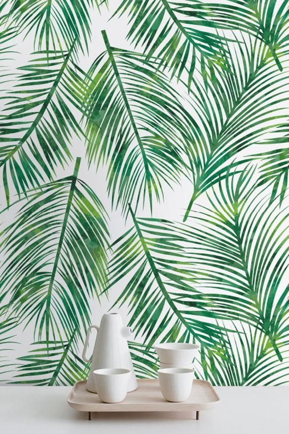 Transform any room in your home into a tropical paradise with this self-adhesive vinyl PALM LEAVES pattern removable wallpaper!