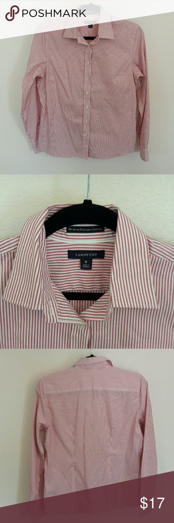 """Women's Lands' End button up shirt Women's red and white striped button up shirt by Lands' End in great condition. This is one of their """"No iron pin point oxford"""" shirts. It is 100% cotton. All of the buttons are there. No stains, tears or rips. Please feel free to ask any questions as all sales are final. From  a smoke free home. Lands' End Tops Button Down Shirts"""