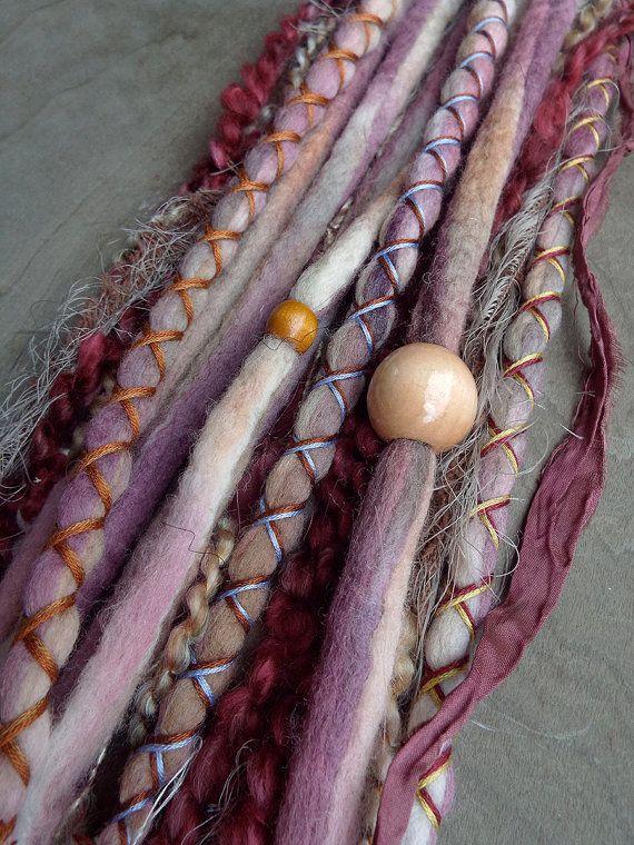 10 Berry Tie-Dye Wool Synthetic Dreadlock par PurpleFinchStore