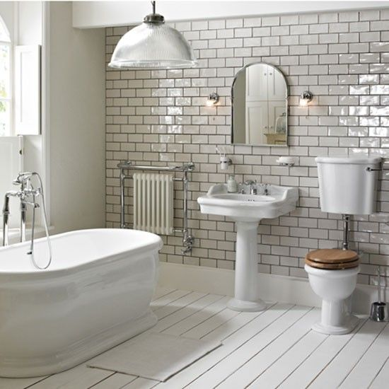 Stunning subway tile makes this entire bathroom #bathrooms #decor #interiordesign #renovations