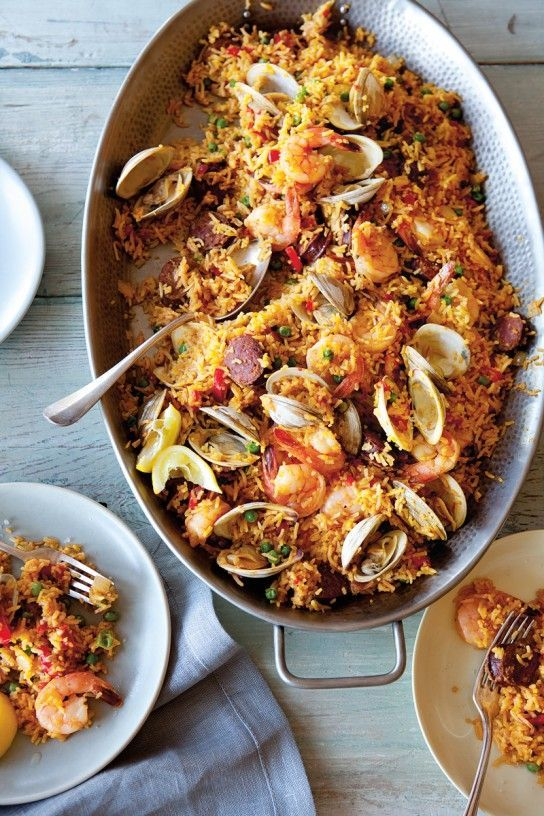 Serve this colorful Spanish dish family style for a casual get-together, either spooned onto a platter or directly from the pan.
