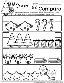 December Preschool Worksheets - Count and Compare Christmas items.