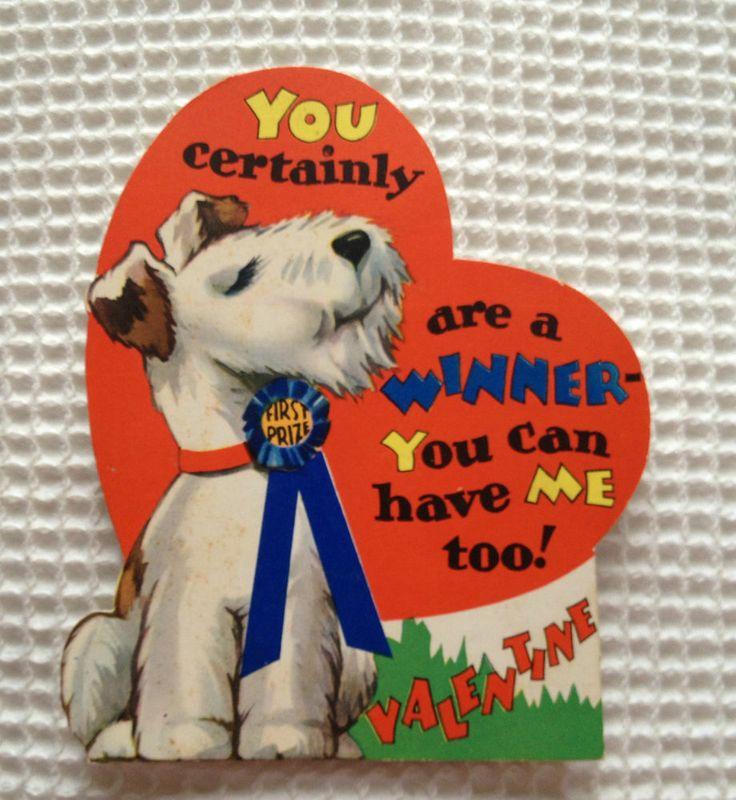 Antique Vtg Old Valentine Card   Carrington   Terrier Scotty Dog Puppy