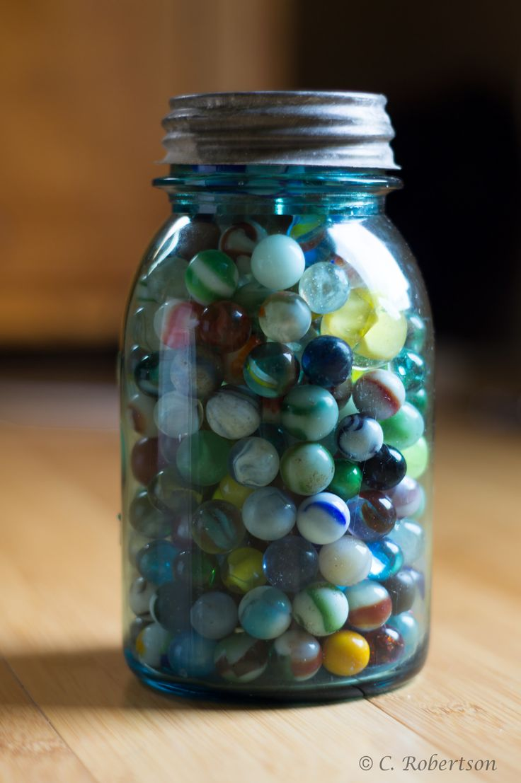 Vintage Blue Mason Jar ~ Mary Wald's Place -  | I wish I knew more about these marbles. I have  tons of them from an estate. | Old marbles in an old blue mason jar