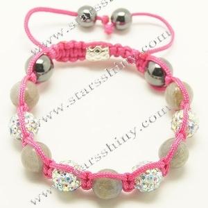 10mm round clay AB2X rhinestone & labradorite beads adjustable shamballa bracelet wholesale    Material: alloy, rhinestone beads, labradorite beads    Wear Length: from 7 to 10 inches