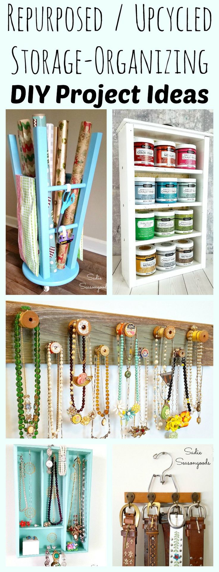 New year, new organization in your home! And these DIY repurposed and upcycled ideas will surely inspire you to reuse everyday items as either additional storage in your house or ways to organize your belongings in meaningful ways! From Craft Room Organization, to jewelry storage, to everything in between- Sadie Seasongoods has you covered! www.sadieseasongoods.com