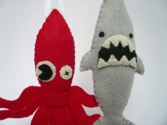 Funny Ornaments  Sea Monster Set by TheOffbeatBear on Etsy, $25.00