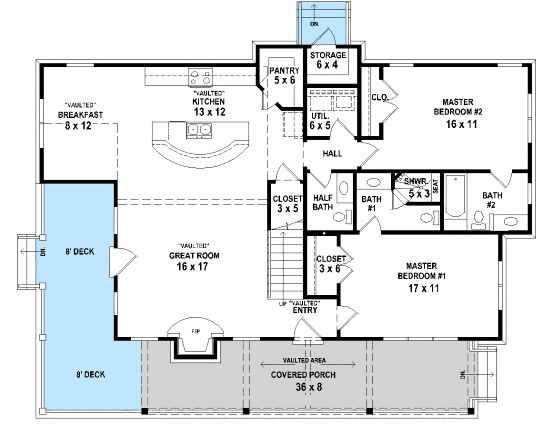 Plan 58551sv three master bedrooms square feet small for Small baths 1400