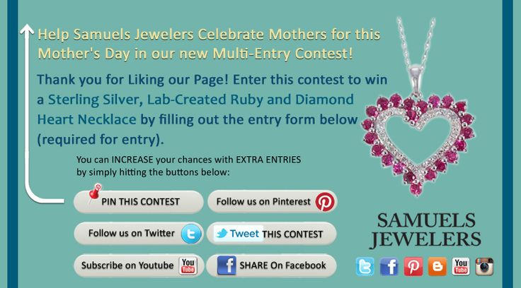 I just entered the Samuels Jewelers' 'Celebrate The Moms' Contest. Click this Pin to see how to enter to win a Sterling Silver Lab-Created Ruby and Diamond Heart Necklace