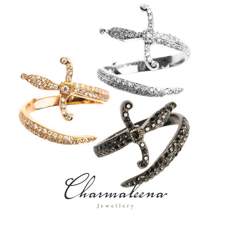Swords of Love ring  .. #Sword  #blackdiamond #ring  #jewellery  #mycharmaleena #charmaleena #finejewellery #yellowgold #RoseGold   #jeddah #riyadh #ksa #saudi #saudiarabia #Dubai #online #جدة  #السعودية  #دبي #الرياض