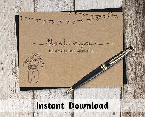 Printable Wedding Thank You Card Template - Rustic Mason Jar on Kraft Paper | Editable DIY PDF Instant Download | 4x6 & 5x7 | Twinkle Lights