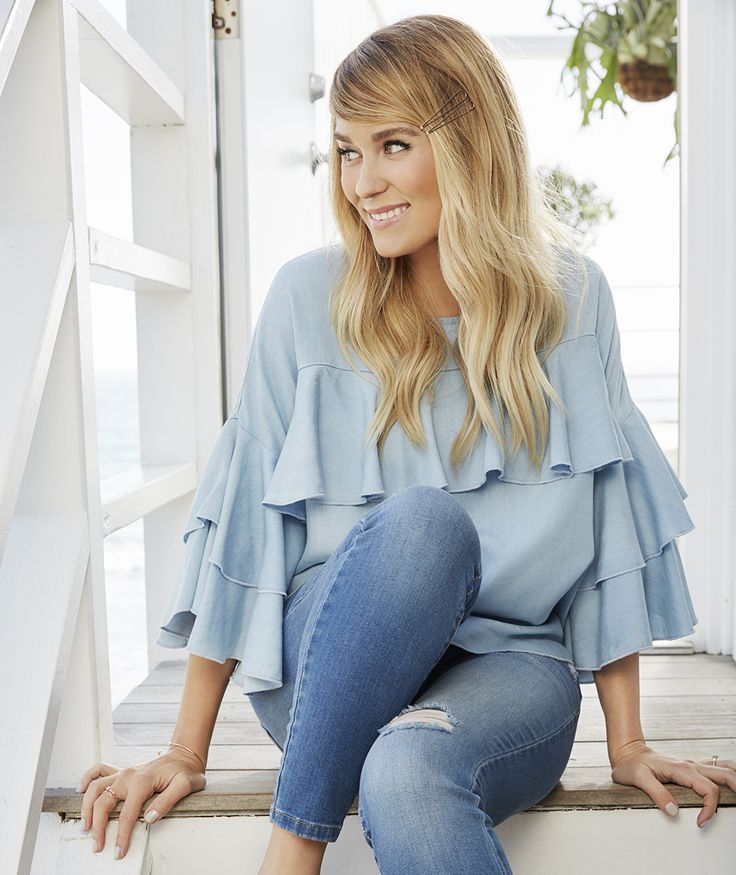 Lauren Conrad wearing a Ruffle Chambray Top from the April LC Lauren Conrad Collection | Available at Kohl's