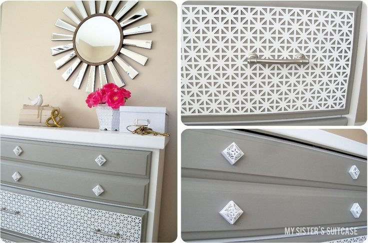 Dresser Makeover {wtih aluminum sheet metal} by My Sister's Suitcase: Dresser Makeovers, Sisters, Old Dressers, Sheet Metal, Decorative Dresser, Craft Ideas, Diy Projects
