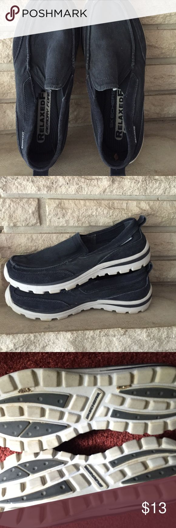 Sketchers Mens boat shoes Blue and White. Worn a few times. Great shape. Relaxed memory foam. Sketchers Shoes Boat Shoes