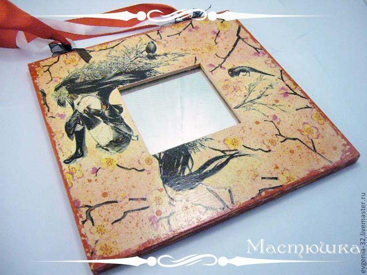 "Купить Зеркало декоративное ""Цветок вишни"" - декоративное зеркало, зеркало декупаж, зеркало, япония, аниме"