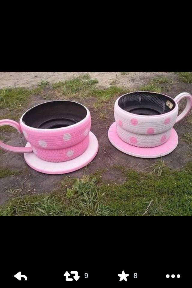 Teacup tyre planters