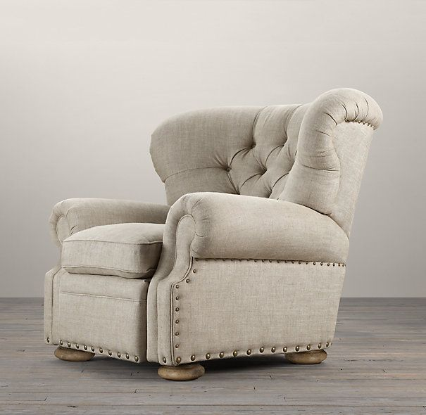 OMG! Someone finally made one. A stylish recliner. Churchill Upholstered Recliner can be found at Restoration Hardware.  Click Here http://www.restorationhardware.com/catalog/product/product.jsp?productId=prod1730268