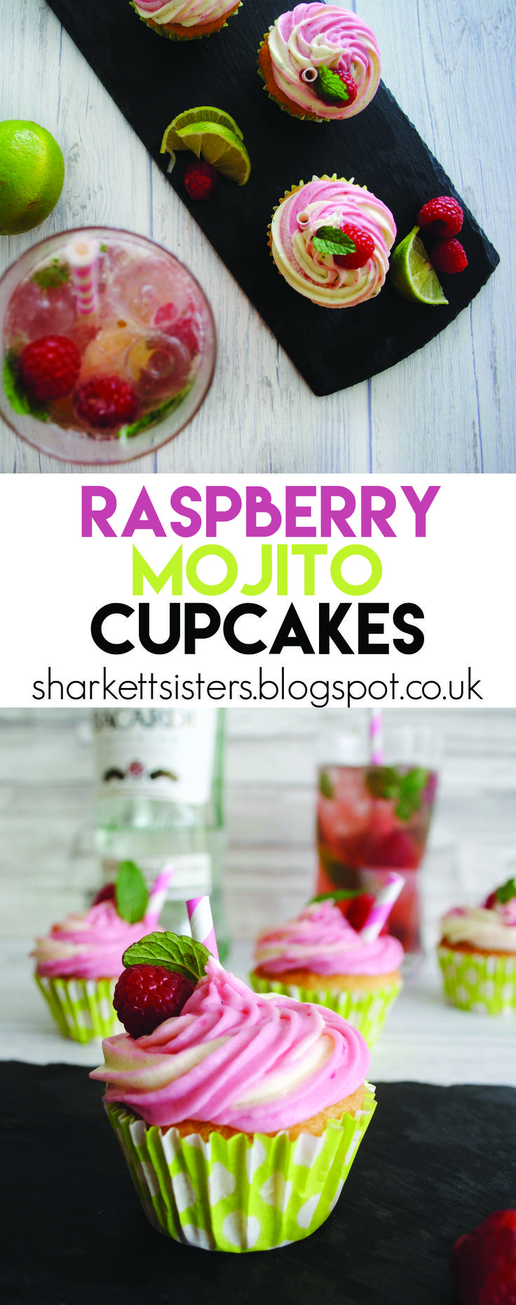 Raspberry Mojito Cupcakes! http://sharkettsisters.blogspot.co.uk/2016/08/cocktail-cupcakes-raspberry-mojito.html