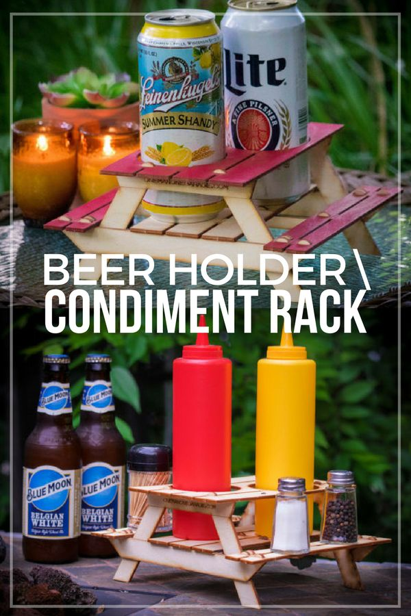 Summer is here and one of my favorite things to do is grill out and enjoy a nice evening on the patio. This mini picnic table kit serves as a whimsical coaster for my beer, or it can hold condiments such as ketchup, mustard, salt and pepper, for when I make hot dogs. #ad #coaster #minipicnictable #outdoor #outdoordecor #homedecor #condimentrack #beerholder #giftideas #giftforhim