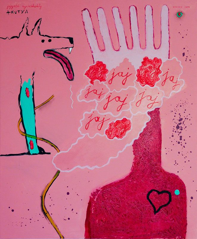 Crying Bunny King + DogJajgató Nyuszikirály+Kutya  100x120cm acryl, vászon