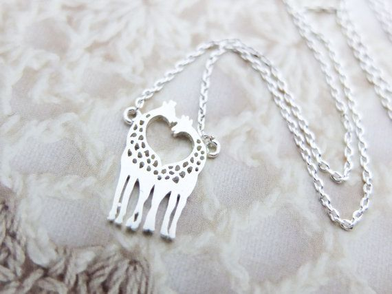 Love Giraffe Necklace Silver necklace Animal by SeablueBoutique