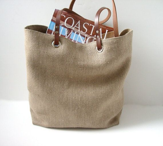 Woven Tote Bag Linen Tote Jute Tote Beach Bag di IndependentReign, $142.00