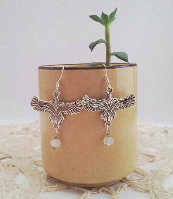 Silver Eagles & Opalite Gypsy Earrings / by FeathermoonByronBay