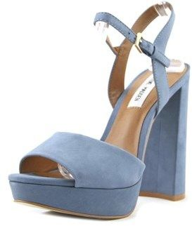 Steve Madden Kierra Women Open Toe Leather Blue Platform Sandal.