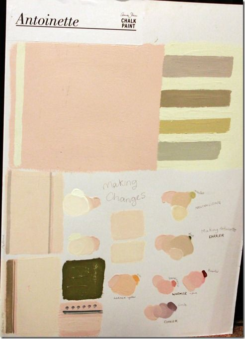 Annie Sloan Antoinette Chalk Paint with various complementary colours and colour mixing shown.