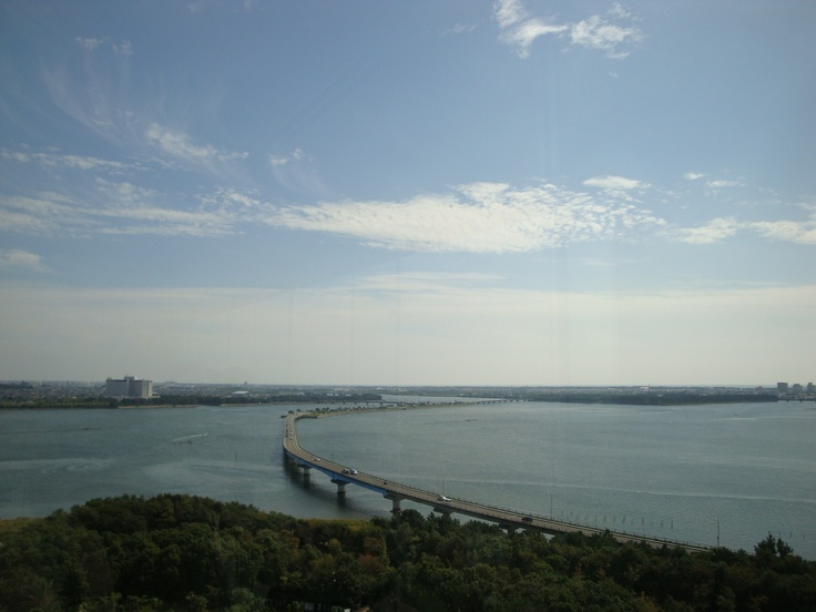 View from the Lake view tower in Hamana-ko Garden Park. We crossed this bridge by bicycle!
