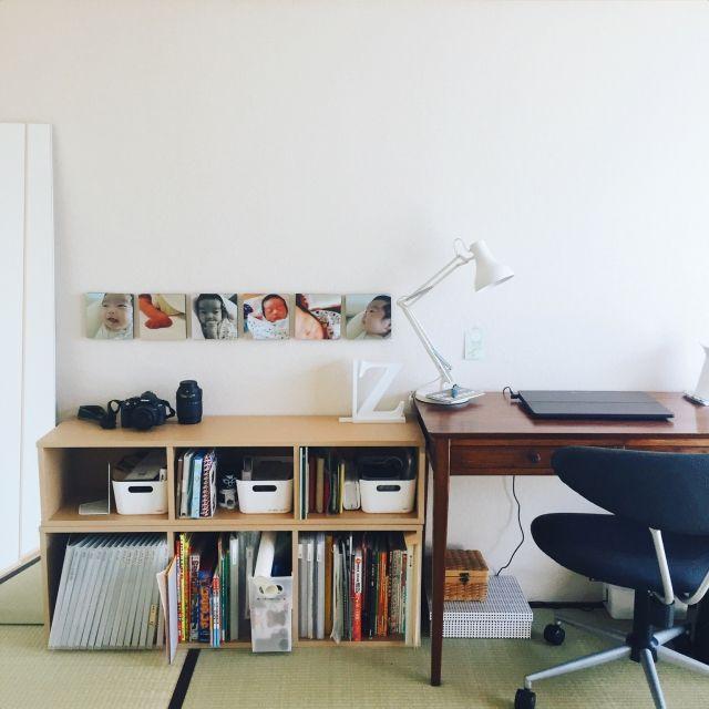 mizutama70さんの、こどもと暮らす。,デスク,6畳,IKEA,賃貸,無印良品,団地,パソコン,デスクライト,良品週間,和室,パルプボードボックス,机,のお部屋写真
