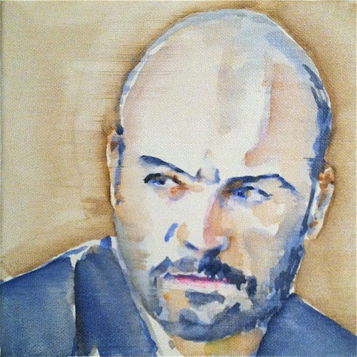 Montalbano / Zingaretti  watercolor on canvas 20x20