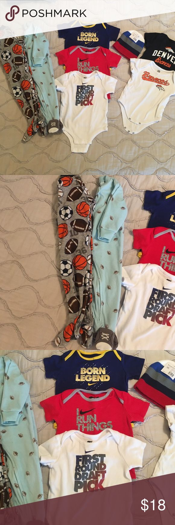 🏈 Get your little guy ready for football season! 3 Nike onesies 1-6/9 months and 2-9/12 months (when you hold them up they're almost the same size and all fit my son the same), 2 camo onesies and 1 football pj. Everything is in excellent shape! 🏈🏈🏈 Nike Matching Sets
