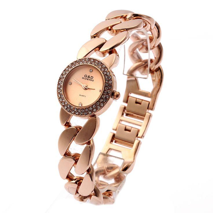 Relogio Feminino Rose Gold G&D Women Quartz Wristwatch Stainless Steel Women's Dress Bracelet Watch Rhinstone Reloj Mujer Gifts