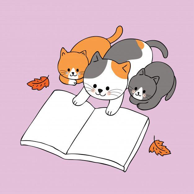 Dibujos Animados Lindo Otono Familia Gatos Lectura Vector De Libro Gatos Dibujos De Gatos Gatos Kawaii