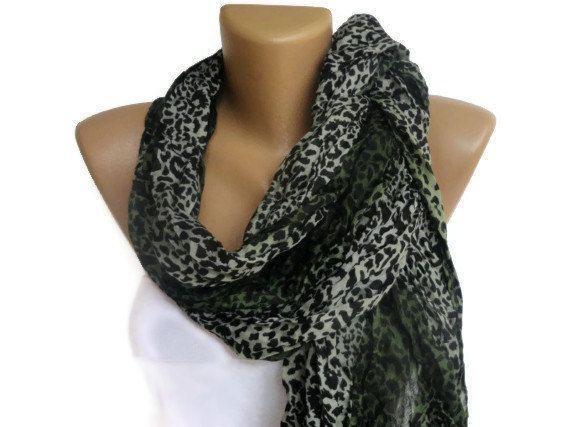 green leopard cheetah print scarf  women by scarvesCHIC on Etsy, $10.50