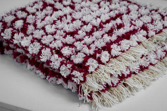 Cozy Small Blanket, Baby Blanket, Red Newborn Blanket, Knitted Blanket, Pom Pom Blanket, Unique Blanket, Home Blanket, Soft Newborn Gift