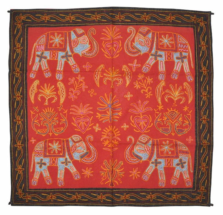"""Indian Cotton Wall Hanging Decor Vintage Elephant Embroidered Tapestry 36x336"""" #lalhaveli"""