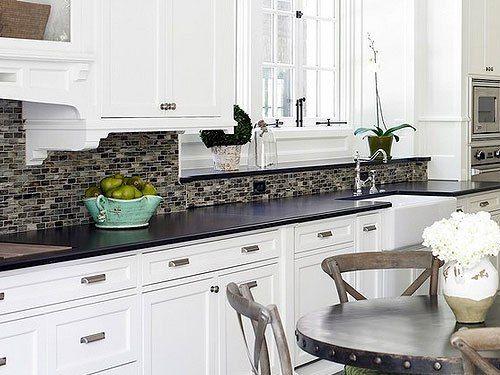 white cabinets black countertop backsplash ideas - Backsplash Ideas For White Kitchens
