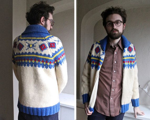Vintage COWICHAN Sweater Jacket SHAWL Collar Cardigan Coat 70s BoHo AZTEC American Indian knitted wool Woman Mens Modern Medium - Large Size by HarlowGirls on Etsy